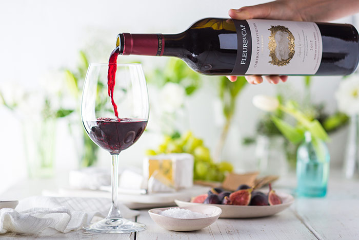 Fleur du Cap Unfiltered Cabernet Sauvignon served with a variety of cheeses and figs